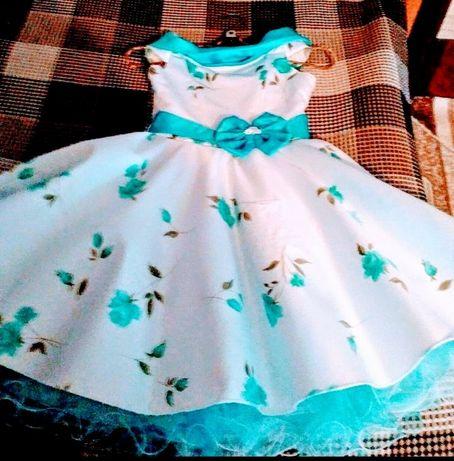 Детское нарядное платье на девочку 6 - 7 лет