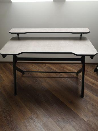 Zestaw: biurko gamingowe i regał, BETON CZARNY MAT