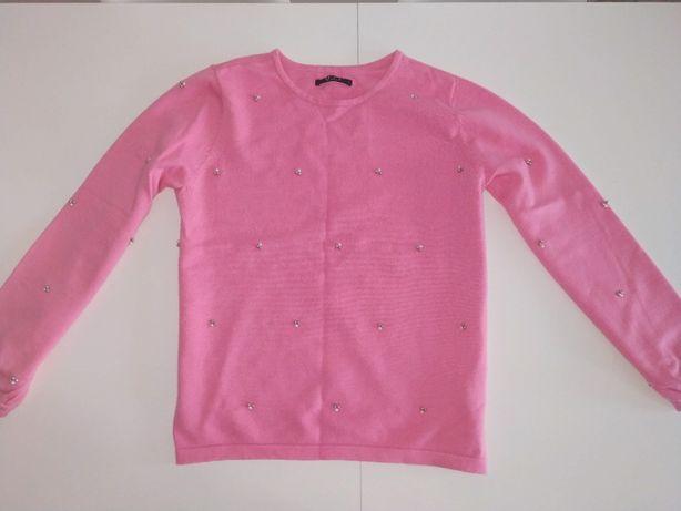 Różowy sweter sweterek z perełkami koralikami MOHITO rozmiar M
