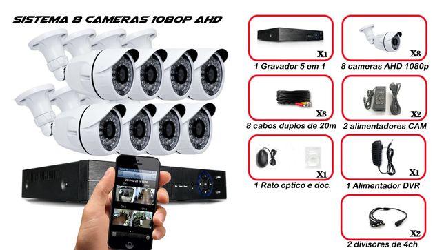 video vigilancia 8 cameras 1080p AHD 8 cabos 20m DVR P2P internet IP
