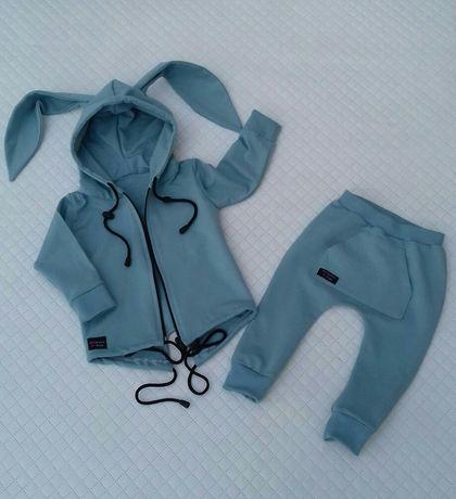 dres. bluza, parka. spodnie, baggy. uszy królika. brudny błękit
