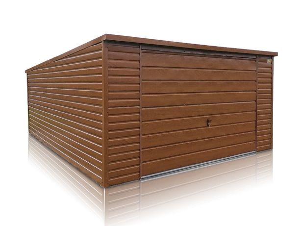 Garaże blaszane drewnopodobne garaż blaszak 4x6 z bramą uchylną