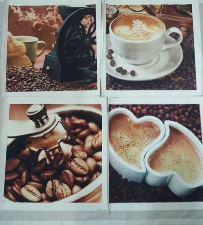 Картины с кофе  комплект 4 шт.Модульные картины.