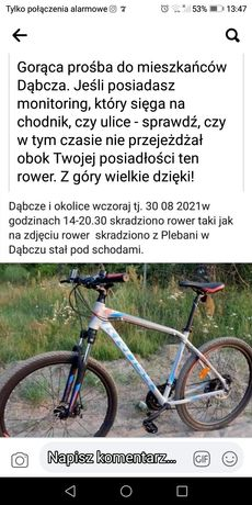 Uwaga skradziono rower cross