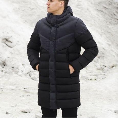 Зимняя мужская куртка парка ZiR черная пуховик удлиненный черный