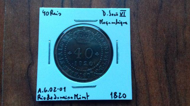 Moeda 40 Reis 1820 D. João VI Moçambique