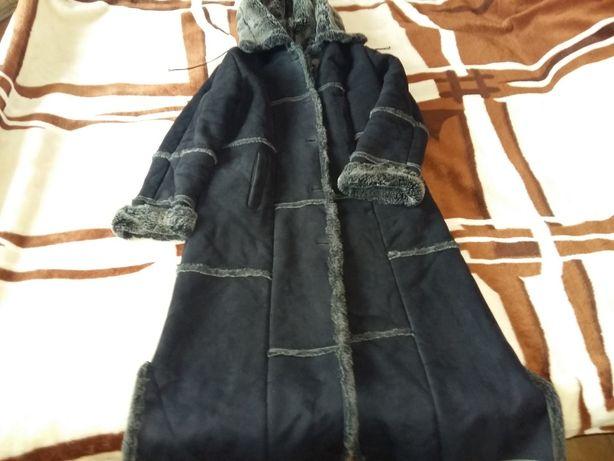 Дубленка женская удлиненная из искусственного меха р. 48-50