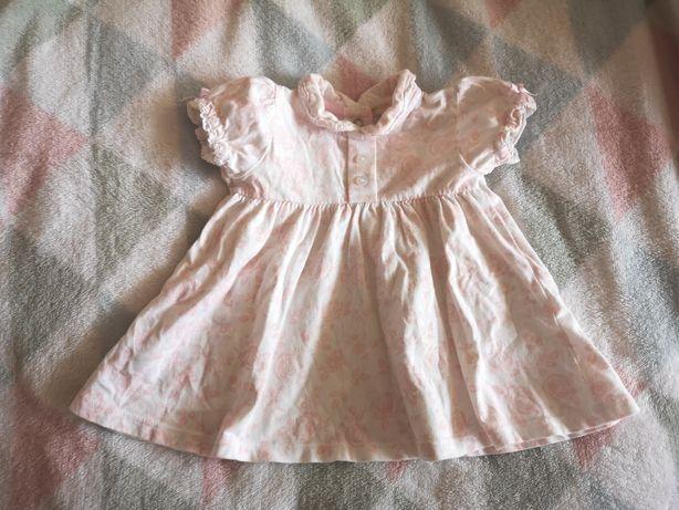Letnia sukienka bawełniana biała z różowymi różyczkami 3m