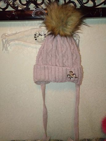 Зимняя шапка для девочки на флисе Арктик