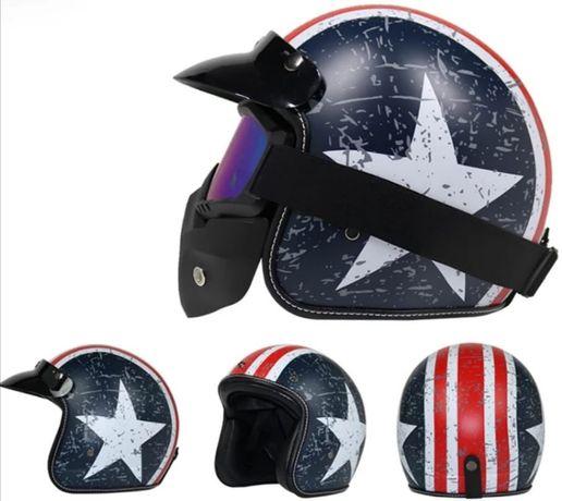 (NOVO) CAPACETE Mota Vintage Chopper Vespa Harley Bobber Shadow