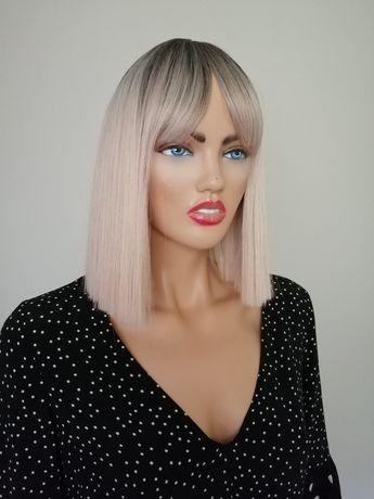 Peruka bob z grzywką blond