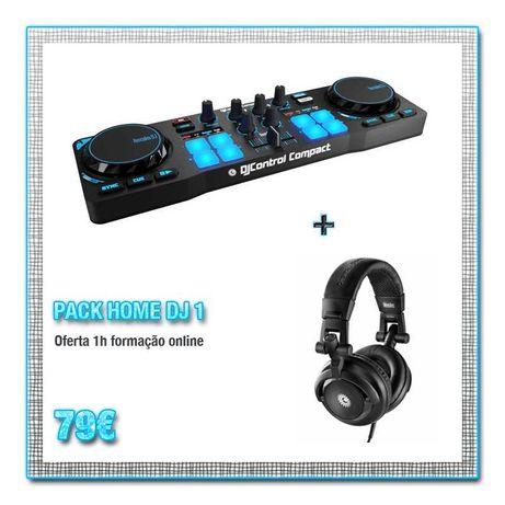 Hercules DJ Control Compact + Auscultadores HDP DJ M40.1 - NOVO