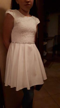 Sukienka księżniczka ecru 152 na 10-11 lat Komunia święta
