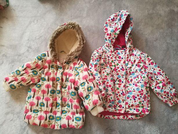 Dwie kurtki na zimę dziewczynka rozmiar 86