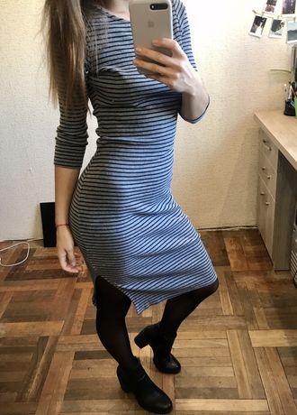 Платье с разрезом, платье в полоску