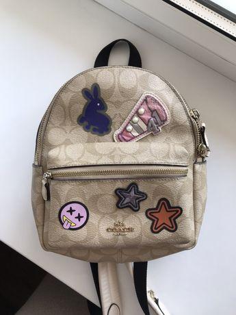 Рюкзак шкіряний Coach / женский рюкзак