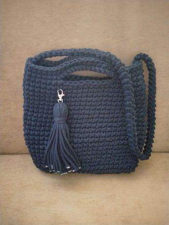 Torebka damska ze sznurka bawełnianego GRANAT