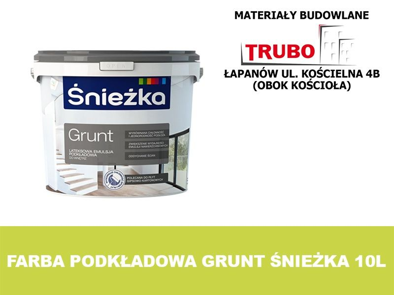 Grunt podkładowy farba emulsja podkładowa ŚNIEŻKA 10l - BIAŁA Łapanów - image 1