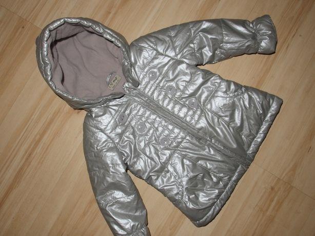 NEXT kurtka dziewczęca parka srebrna 86 cm 12-18 miesięcy przejściówka