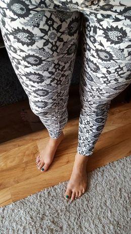 Skinny spodnie eleganckie we wzorki biało czarne rozmiar 34 XS ZARA