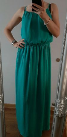 Zielona długa maxi sukienka M/L