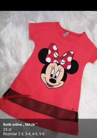 Sukienka Minnie czerwona i różowa