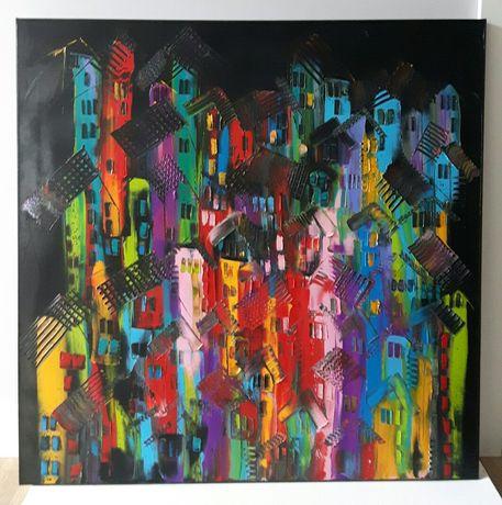 DACHY obraz olejny 80x 80 faktura farby KatarzynaArt