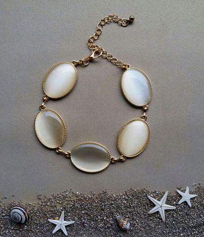 Bransoletka złota z perłowymi białymi kamieniami NOWA prezent dla niej