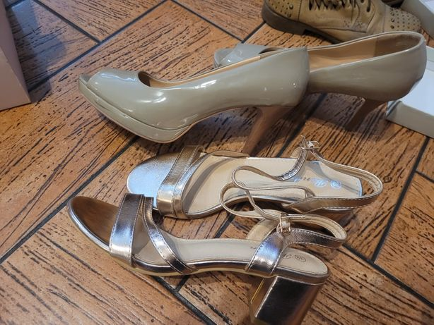 2 pary butów szpilki i na obcasie złote