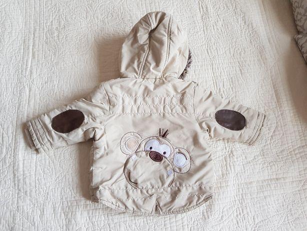 Smyk cool club kurtka niemowlęca beżowa z małpką ocieplana 74