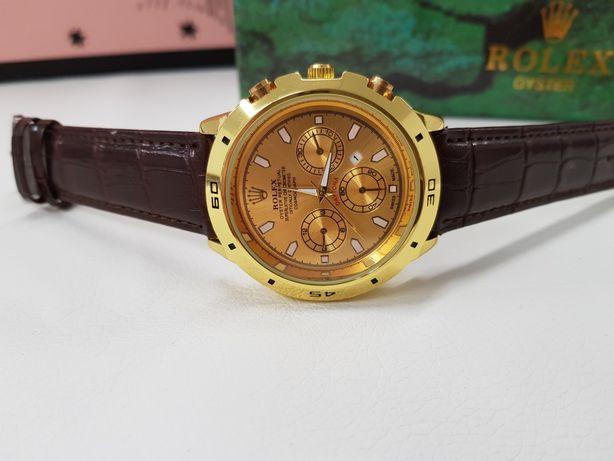 Zegarek męski Rolex Daytona złoty  pasek skórzany Nowy kartonik