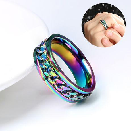 Кольцо с цепочкой, из нержавеющей стали