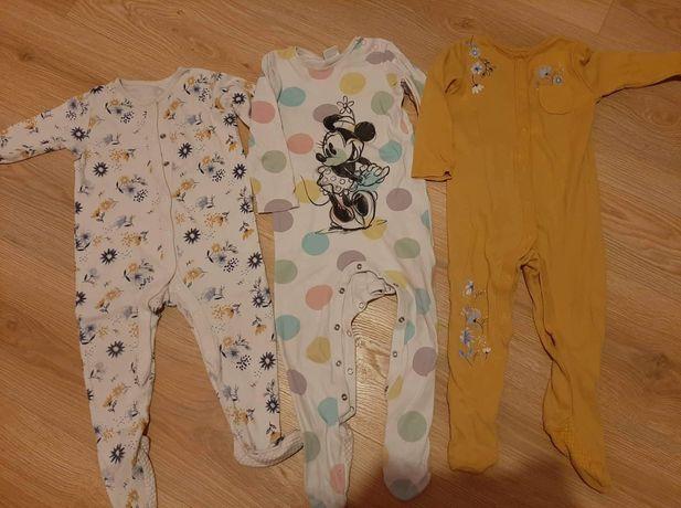 Trzy piżamki pajacyki rozmiar 86