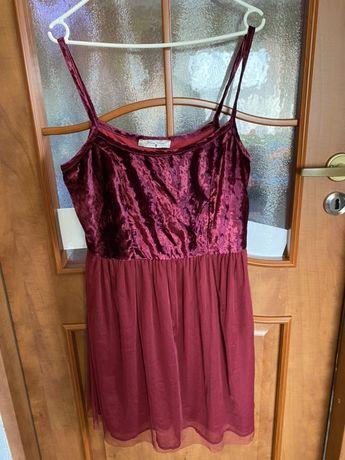 Bordowa sukienka tiulowa welurowa L nowa na sylwestra ramiączkach 40