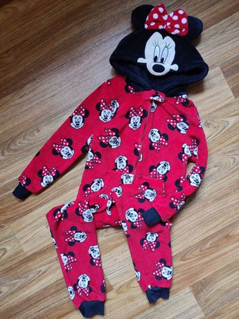 Мягкая тёплая пижама кигуруми комбинезон Минни Маус на 8-9 лет