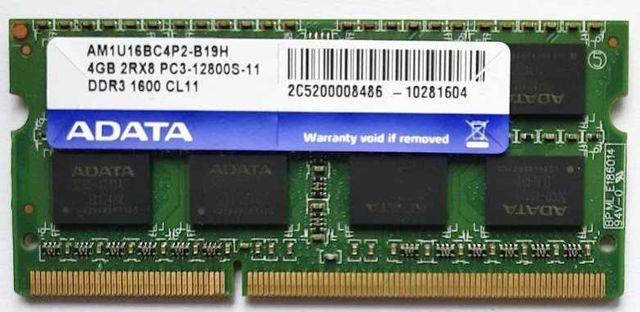 Оперативная память для ноутбука, 4 Гб, DDR3 1600 Мгц