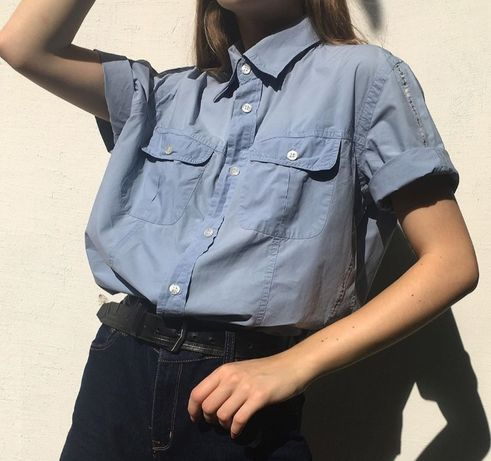 Серо-голубая рубашка Trussardi Jeans