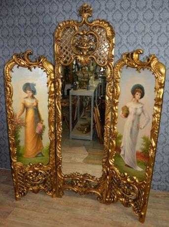 Biombo de madeira com pinturas e espelho