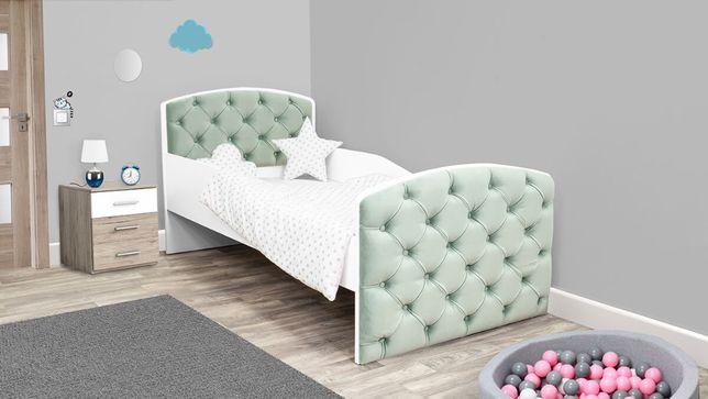 Łóżko dziecięce tapicerowane z szufladą i materacem