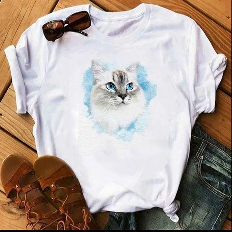 Koszulka t-shirt bluzka biała kot koty neva rosyjski S-XXL
