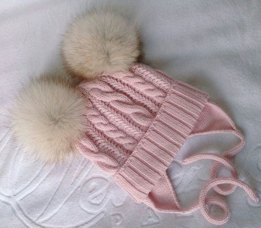 Эксклюзивная детская вязаная шапка шапочка ручная работа два помпона