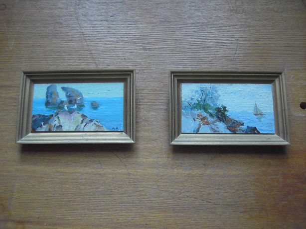"Две миниатюры ""Весна"" и ""Скалы"" кисти И.П.Олишевича (1924-2000))"