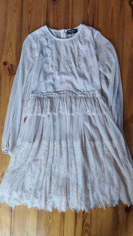 Sukienka koktajlowa bladoróżowa