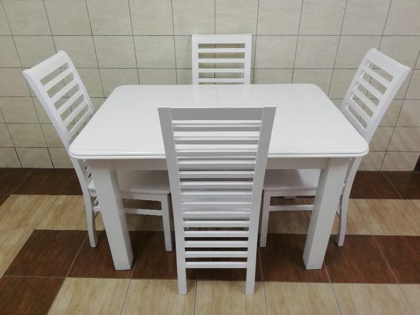 stół rozkładany 120x80 +2x35 4 krzesła białe drabinka salon kuchnia