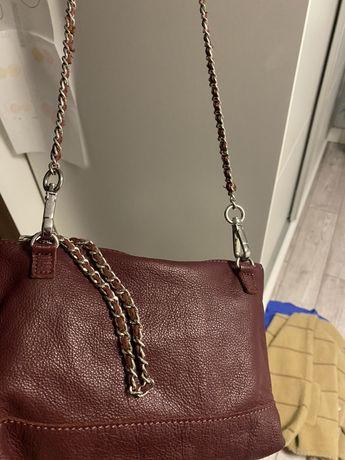 Bordowa torebka mala zara trafaluc łańcuszek  srebrny