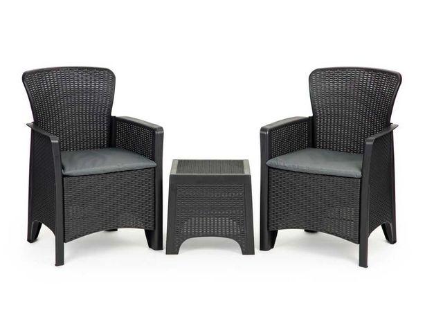 Meble ogrodowe zestaw kawowy stół krzesła 2x fotel -2 kolory do wyboru