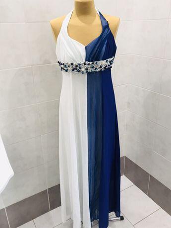 Sukienka długa L wiązania szyta na marę przepiekna