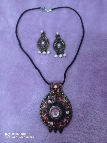 Komplet biżuterii: naszyjnik i kolczyki - styl orientalny.