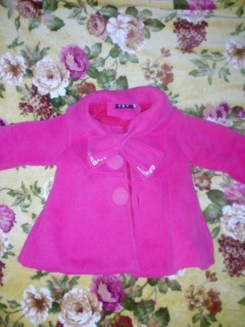 Продам пальто детское на флисе, кораллового цвета