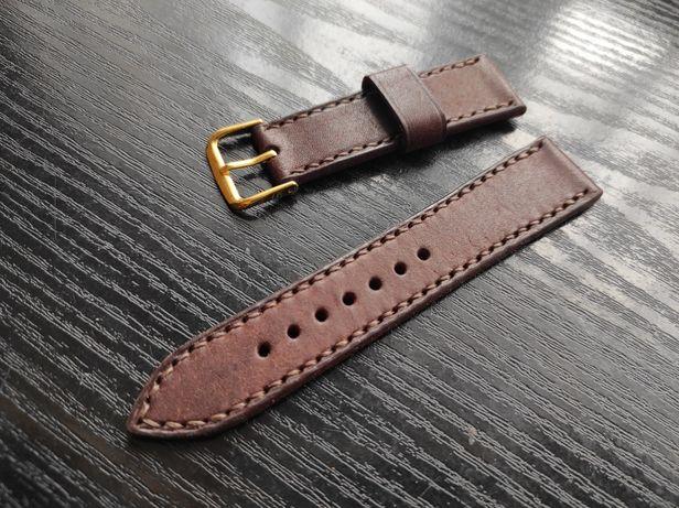 Pasek skórzany do zegarka ręczne robione z naturalnej skóry Pueblo.